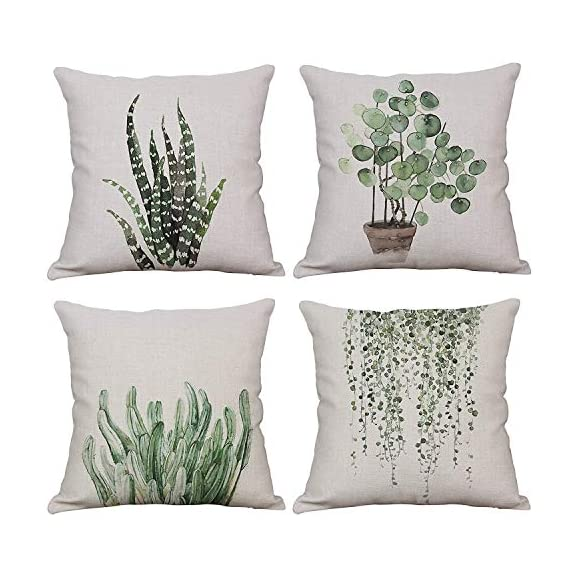 YeeJu Set of 4 Green Plant Throw Pillow Covers Decorative Cotton Linen Square Outdoor Cushion Cover Sofa Home Pillow Covers 18x18 Inch - ELEVATE YOUR ROOM DECOR! Let these attractive green plants throw pillow covers add a freshness, dynamic, fashionable and cozy feel to your life atmosphere. Definitely these amazing 18X18 Inches throw pillow covers will be your Home Highlights! YOUR COMFORT IS OUR TOP NOTCH! With fantastic moisture absorption and wet dissipation, our 100% natural cotton linen is the perfect fabric for cushion cover or sofa throw pillow cases. As the premium comfort eco-friendly material, it offering the most restful relaxation, breathable cool touch in summer and warm touch in winter. DETAILS HIGHLIGHT THE QUALITY! Soft, breathable, textured made with color matching, invisible zipper, allows easy insertion and removal of pillow inserts. All fabric edges are sewn with overlock stitch to prevent fray and ensure the cushion case holds shape over time.Printed with healthy and environment friendly water-based ink, unfading, no stimulation to skin. - patio, outdoor-throw-pillows, outdoor-decor - 51Uj7OMFjeL. SS570  -