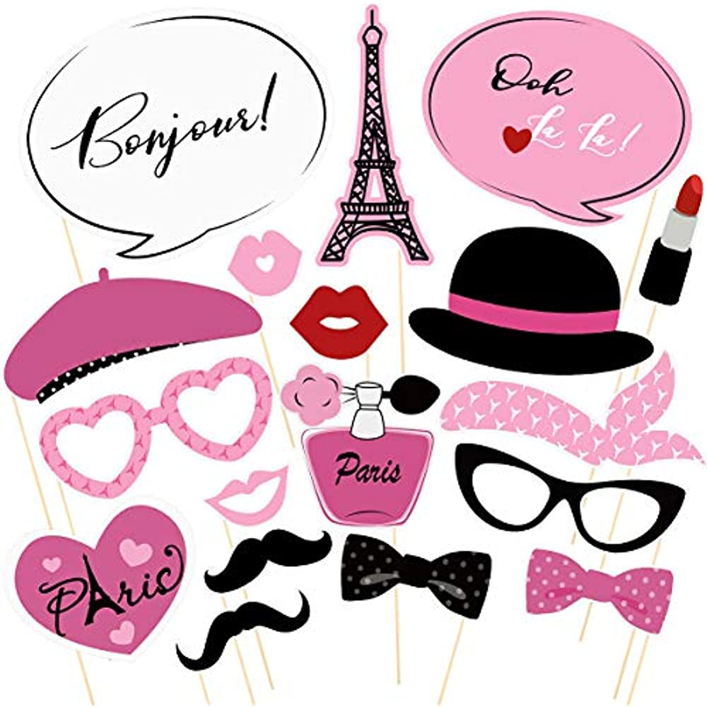 Details About 18pcs Paris Photo Booth Props French Ooh La Party Supplies Themed For Birthday