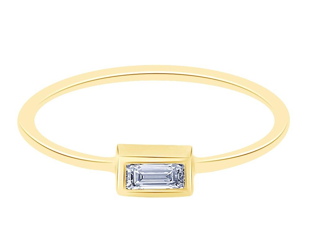 14K Yellow Sold Gold Baguette Cut Diamond Single Baguette Diamond Band Ring by Wish Rocks