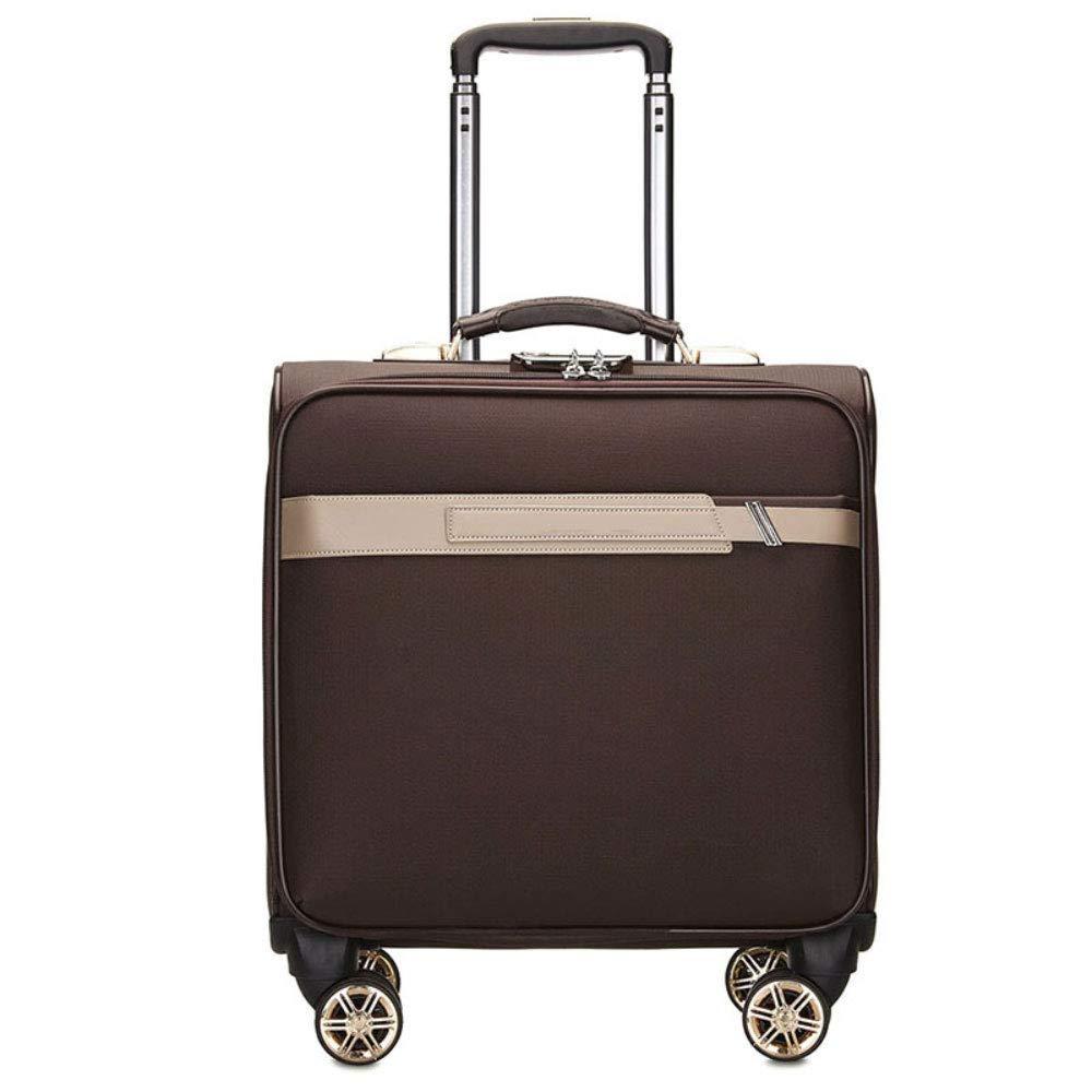 TLMYDD トロリーファッションPUトロリーケース17インチスーツケースビジネストラベルサイレントキャスタートロリーケース トロリーケース (Color : Glamour brown) B07T2MYKC5 Glamour brown