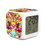 RIIZOODn Psychedelic1 Optional Weekday Mode Intelli-Time LCD Small Alarm Clock 7 Color Lights Digit Display Alarm Clock