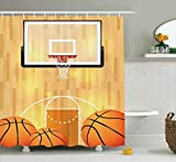 Ambesonne Sports Decor Collection, Basketball Court Ball and Hoop Madness Rim Court Parquet Hardwood Picture Print, Polyester Fabric Bathroom Shower Curtain, 75 Inches Long, Ivory Orange Black