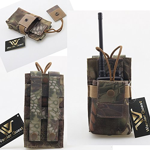 Warrior Quest Adjustable 1000D Nylon Short Radio Pouch – Molle Radio Pouch Tactical Radio Holster (Mandrake Camo) … ()