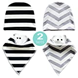 Baby Bandana Drool Bibs ,For Drooling Teething Feeding,2 Bonus Beanies Cap,Super Soft,Warm Fleece Backing,Unisex,Perfect For Baby Shower And Newborn Registry Gift Set