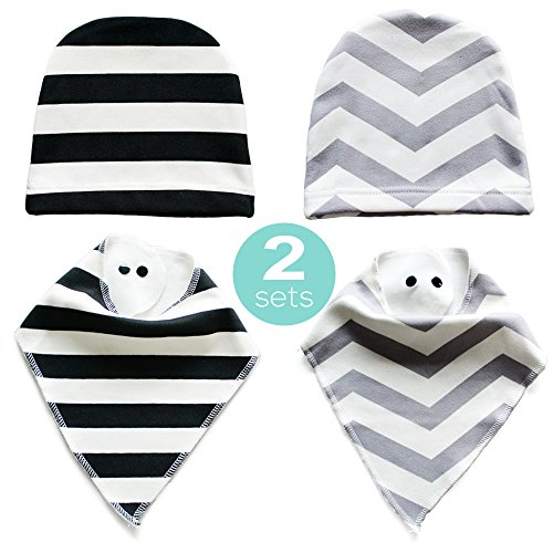 Baby Bandana Drool Bibs ,For Drooling Teething Feeding,2 Bonus Beanies Cap,Super Soft,Warm Fleece Backing,Unisex,Perfect For Baby Shower And Newborn Registry Gift Set Unisex Baby Gift Set