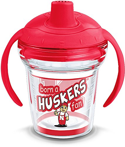 Tervis 1292423 NCAA Nebraska Cornhuskers Born a Fan Sippy Cup with Lid, 6 oz, Clear