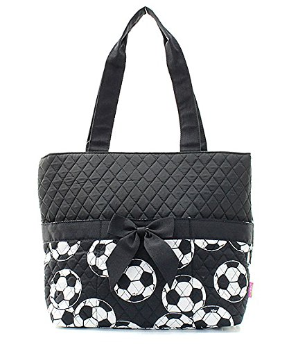 Black Soccer Quilted Diaper Bag with Changing Pad and Accessory Case - 3 Piece