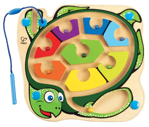 Hape Award Winning Totally Amazing Colorblock Sea Turtle Kid's Magnetic Wooden Bead Maze Puzzle
