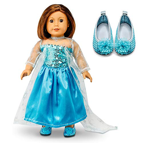 Oct17 Fits Compatible with American Girl 18 Princess Dress 18 Inch Doll Clothes Accessories Costume Outfit Set with Shoes