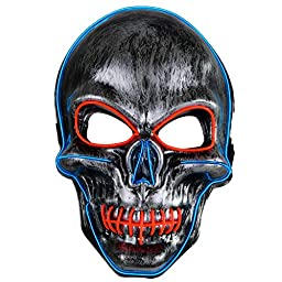 Great LED Light-Up Mask for Halloween, Cosplay, Raves, etc. (Green)