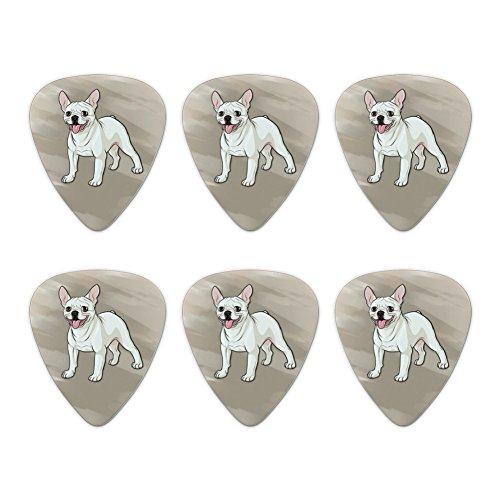 French Bulldog Smiling Pet Dog Novelty Guitar Picks Medium Gauge - Set of 6