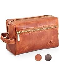 Leather Toiletry Bag Dopp Kit by Rachiba - Mens Leather Toiletry Bag, Shaving and Grooming Kit for Travel, Bathroom...