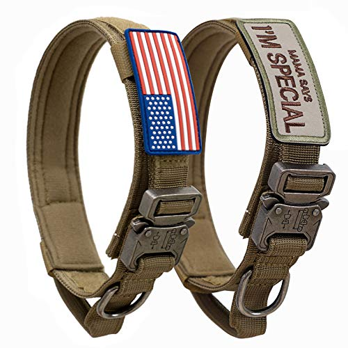 Tactical Dog Collar with USA American Flag - Military Dog Collar Thick with Handle - Heavy Duty Nylon K9 Collar Adjustable Metal Cobra Buckle for Medium Large Dogs M L XL Chew Proof with 2 Patches