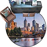 Drum Coffee Table Australia City Round Area Rug Carpet Early Morning Scenery in Melbourne Australia Famous Yarra River Scenic Anti-Skid Area Rug (67