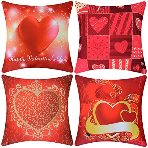 Simhomsen Printed Throw Pillow Case Cover, Shams for Valentines Day, Wedding Anniversary, Marriage Proposals, Engagements, Romantic Events, Set of 4 (17.5 x 17.5 inch)