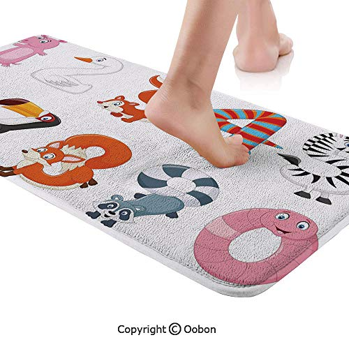 Mathematics Classroom Decor Rug Runner,Numbers in the Form of Animals Cartoon Style Arithmetic Lesson Decorative,Plush Door Carpet Floor Kitchen Decor Mat with Non Slip Backing,71 X 24 Inches,Multicol