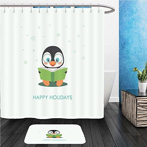 : ShowerCurtian & Doormat cute penguin cartoon vector illustration 353479754 (Penguin Merlot)