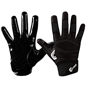 Cutters Rev Pro Football Gloves, Best Grip Receiver Gloves, NEW Printed Palms, Youth & Adult Sizes, 1 Pair