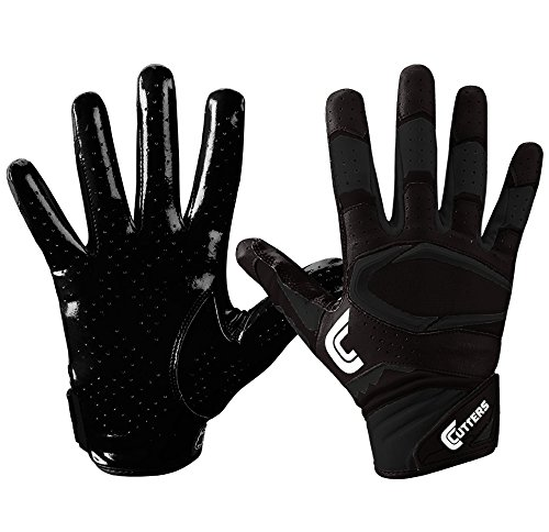 Cutters S451 Rev Pro 2.0 Receiver, Safety, Cornerback Football Gloves with Ultra Sticky C-Tack Grip Adult and Youth, Adult M, BLACK/ WHITE