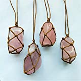 Natural Raw Rose Quartz Crystal Pendant Necklace