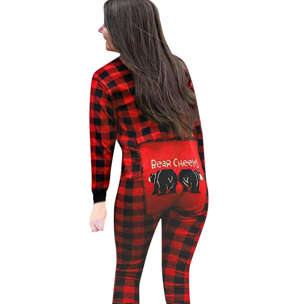 Family Pajamas,Lattice Animal Holiday Christmas Family Matching Sleepwear Jumpsuit (Women, M) by GBSELL Women