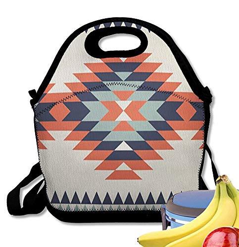 Starobos Neoprene Lunch Bag Tote Reusable Insulated Waterproof School Picnic Printed Cherokee Colorful Ikat Ethnic Zigzag Graphic - Chino Boys Cherokee