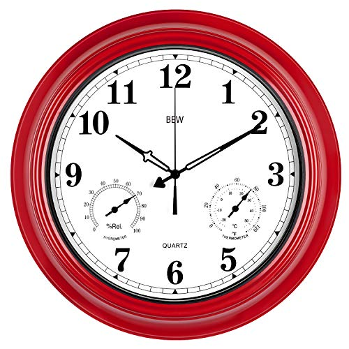 Large Outdoor Clock, 18 Inch Silent Wall Clock with Thermometer and Hygrometer Combo, Waterproof, Weather Resistant, Modern Decoration for Garden/Patio/Pool/Home (Metal, Empire Red)]()