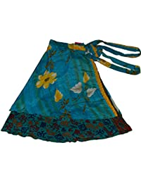 Women's Lot of Pack of 5 Silk Sari Skirts, Medium, Assorted