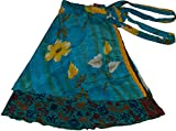 Wevez Women's Lot of Pack of 5 Silk Sari Skirts, Medium, Assorted