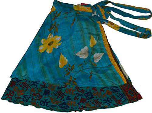 Wrap Indian Skirt - Wevez Women's Lot of Pack of 5 Silk Sari Skirts, Medium, Assorted