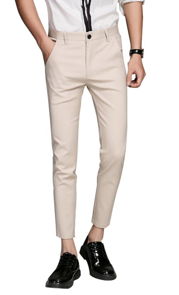 Plaid&Plain Men's Cropped Dress Pants Men's Slim Fit Dress Pants 7603Apricot 34