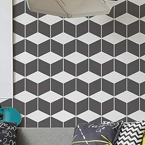 Tissu Meubles SMALL 3D Cubes Gabarit Pochoir//G/éom/étrique D/écore de Mur Pochoir//Grand D/écoration Gabarit Pochoir//Peinture Murs Ideal Stencils