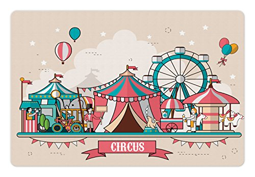 Circus Pet Mats for Food and Water by Ambesonne, Circus Facilities Scenery in Flat Design Style Balloons Children Park Illustration, Rectangle Non-Slip Rubber Mat for Dogs and Cats, Multicolor