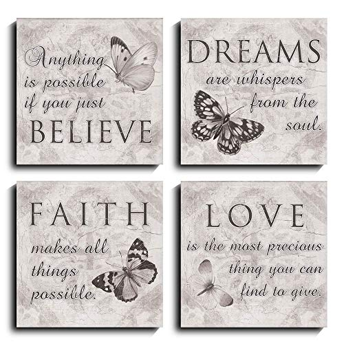 Quote Wall Art - 4 Panels Quotes of Life Inspiration Photo Artwork Prints on Canvas for Home Decoration Yoga, Shower, Study Room (Black White, 12 x 12 inch) (Wall For Words Art)