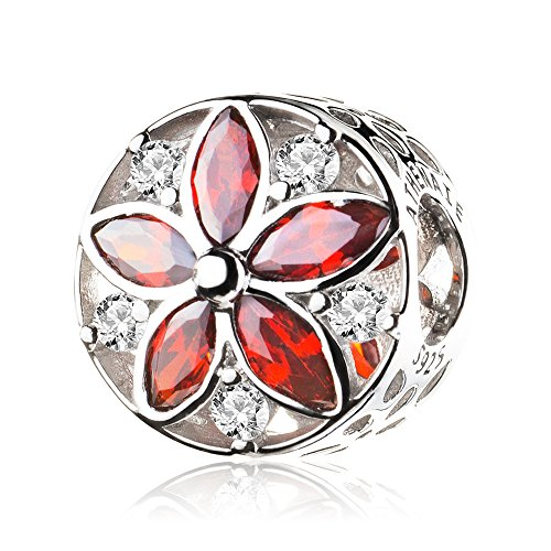 Pave Italian (ATHENAIE 925 Sterling Silver Pave Clear CZ Red CZ Dazzling Floral Bead Charms Color Red)
