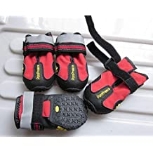 "Colorfulhouse Waterproof Pet Boots for Medium to Large Dogs Labrador Husky Shoes 4 Pcs (Red, 7 (3.1""x2.7""))"