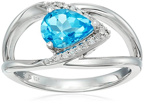 Sterling Silver Swiss Blue Topaz and Diamond Ring, Size 7