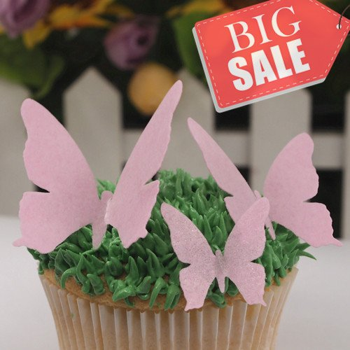 Decorating Cake Marzipan - Edible Wafer Gluten GMO Dairy Sugar Nut Soy FreePink butterfly