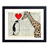 Giraffe And Penguin Love Upcycled Wall Art Vintage Dictionary Art Print 8x10 inches / 20.32 x 25.4 cm Unframed