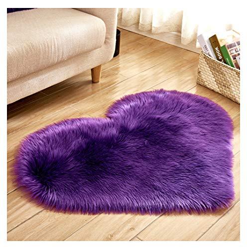 Soft Faux Sheepskin Fur Rug, Heart Shaped Small Sized Floor Shag Sofa Cover Chair Pad,Steeping Cushion for Bedside Kitchen Living Room Nursery Mat Purple 27