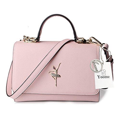 Yoome Shoulder Bags Flap Top Handle Tote For Women Ladies Purse Bag Casual Bag For Girl - Pink Black