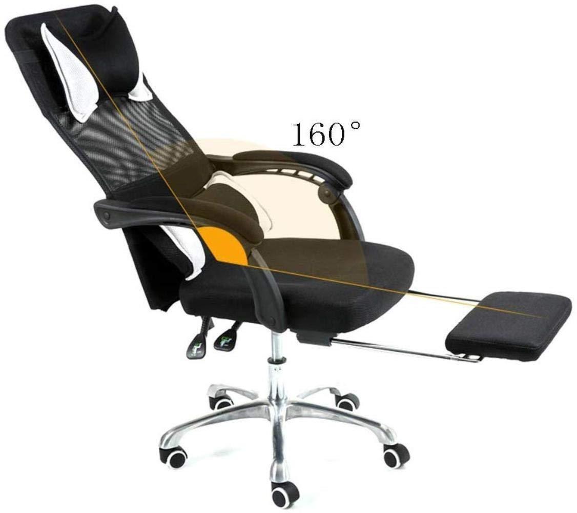 Barstolar Xiuyun kontorsstol spelstol svängbar stol, hög rygg kontor uppgift datorstol nät justerbar ergonomisk med ländrygg stöd/nackstöd och justering av sitthöjd (färg: A) b
