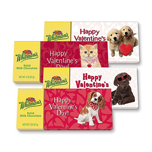 Whitmans Solid Milk Chocolate Valentine Candy Bars 4 Count