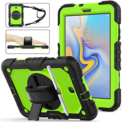 Samsung Galaxy Tab A 8.0 2018 SM-T387 Case, Full-Body Drop &Shock Proof Hybrid Armor Case with 360 Rotating Stand [Screen Protector] Hand Strap for Galaxy Tab A 8.0 Model SM-T387 - Green+Black