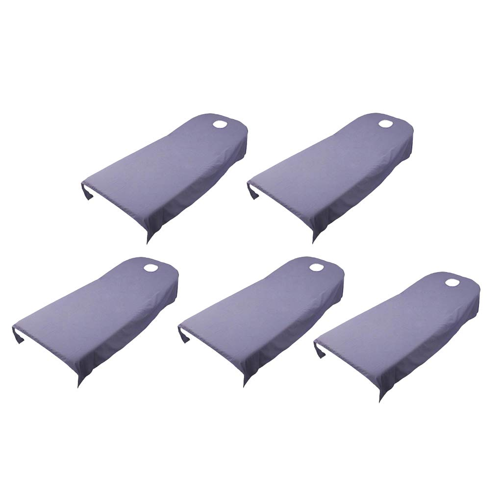 B Blesiya 5Pcs Beauty Massage Spa Treatment Polyester Bed Table Cover Sheet 120x190cm - Purple