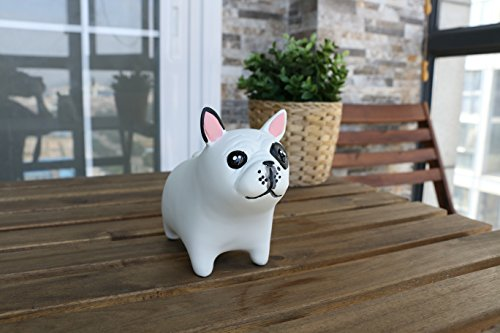 Broken Crayon Costume (iChoue Bulldog Piggy Money Bank Resin Handicraft Ornament Gift for Kids & Adults (White))