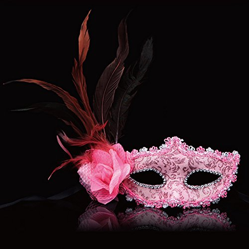 Bambi Halloween Costumes (KAKA(TM) Mask Costume Cosplay Ball Dancing Party [Halloween] Princess Masks Facial Masquerade Glitter - Feather Pink)