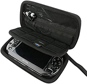 Khanka All-in-one Double Compartment Hard Carry Travel Case Bag For Sony Psvita PS Vita 1000 and PSVita Slim (PSV 2000)/PSP PlayStation 3000 Video Console. Mesh Pocket for Charger cable/Game Cards