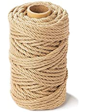 164 Feet 6mm Jute Rope,Natural Jute Twine,6mm Thick Twine,Natural Heavy Duty Twine for Gardening,Decorating,DIY & Arts Crafts,Cat Scratch Post,Bundling