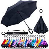 Fidus Double Layer Inverted Reverse Umbrella, Winproof Waterproof Folding UV Protection Self Stand Upside Down Large Car Rain Golf Outdoor Rain Umbrella with C-Shaped Handle for Men Women(Black)